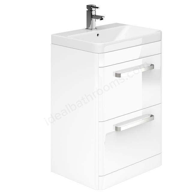 Essential VERMONT Floor Standing Washbasin Unit + Basin; 2 Drawer; 800mm Wide; White Gloss
