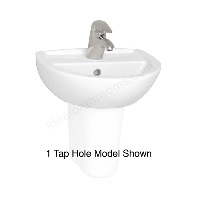 Vitra LAYTON Cloakroom Basin; 2 Tap Hole; 450mm Wide; White