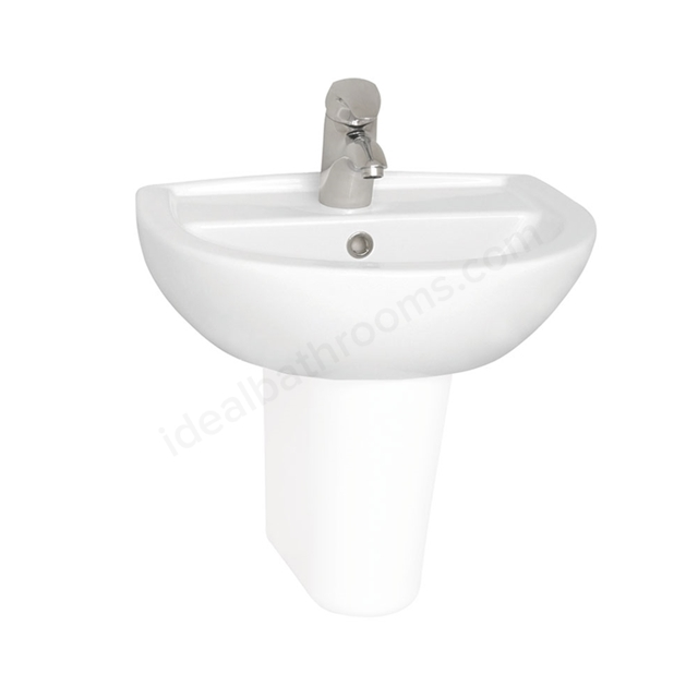 Vitra LAYTON Cloakroom Basin, 1 Tap Hole, 500mm Wide, White