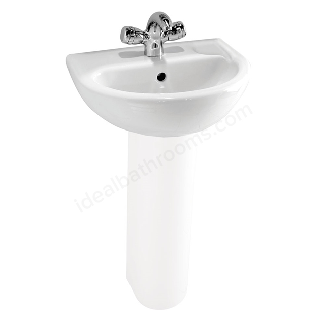 Vitra MILTON Cloakroom Basin; 1 Tap Hole; 450mm Wide; White