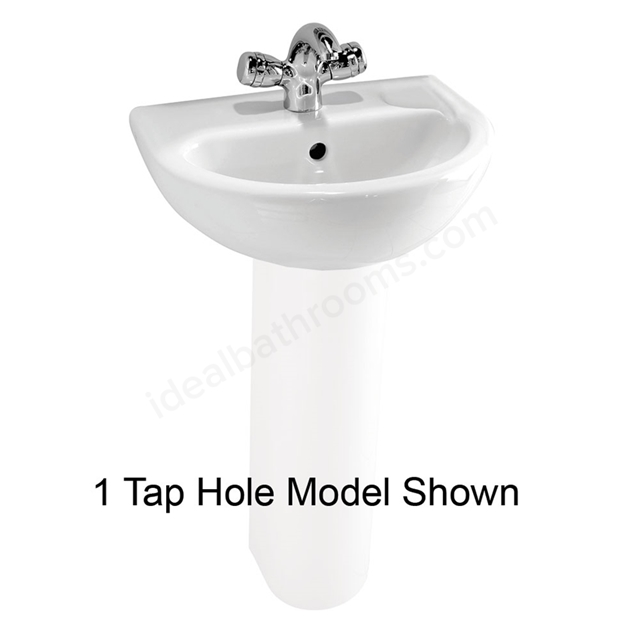 Vitra MILTON Cloakroom Basin; 2 Tap Hole; 450mm Wide; White