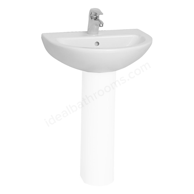 Vitra MILTON Washbasin; 1 Tap Hole; 570mm Wide; White