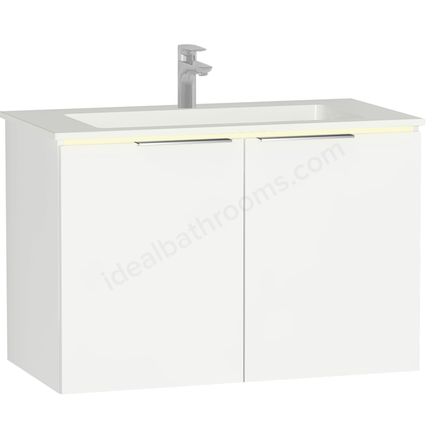 Vitra Ecora Mineral Cast Washbasin Unit 90 Cm With Doors With Infinit Washbasin