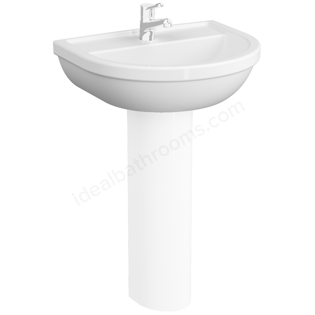 VitrA Milton 600mm Washbasin 2 Tap Holes