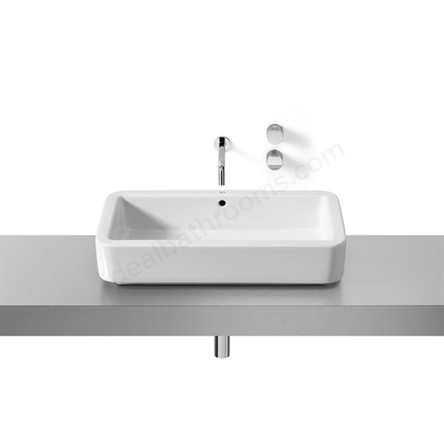 Roca ELEMENT On-Countertop Basin; 0 Tap Hole; 700mm Wide; White