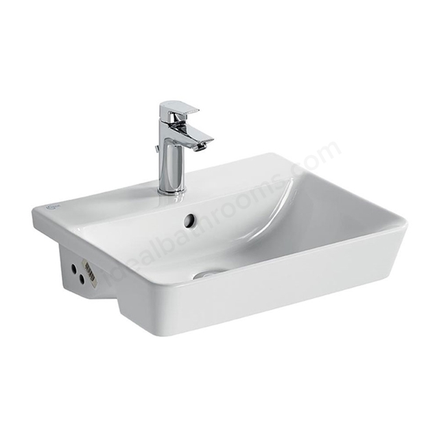 Ideal Standard CONCEPT AIR Cube Semi Countertop Basin; 1 Tap Hole; 500mm; White