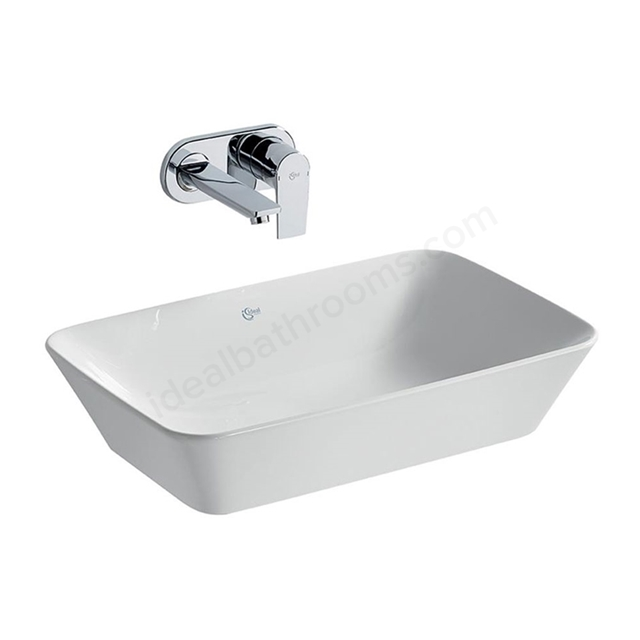 Ideal Standard CONCEPT AIR Cube Vessel Basin; 0 Tap Hole; 600mm; White