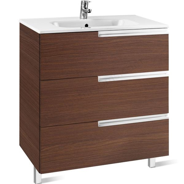Roca Victoria-N base unit 600 x 460mm - 3 soft-close drawers - textured wenge