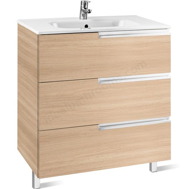 Roca Victoria-N base unit 800 x 460mm - 3 soft-close drawers - textured oak