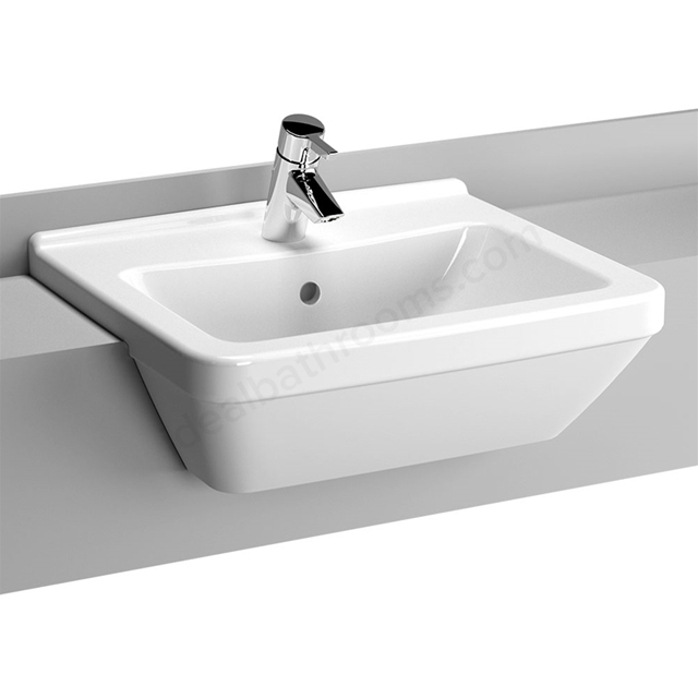 Vitra S50 Square Semi Countertop Basin; 1 Tap Hole; 550mm Wide; White