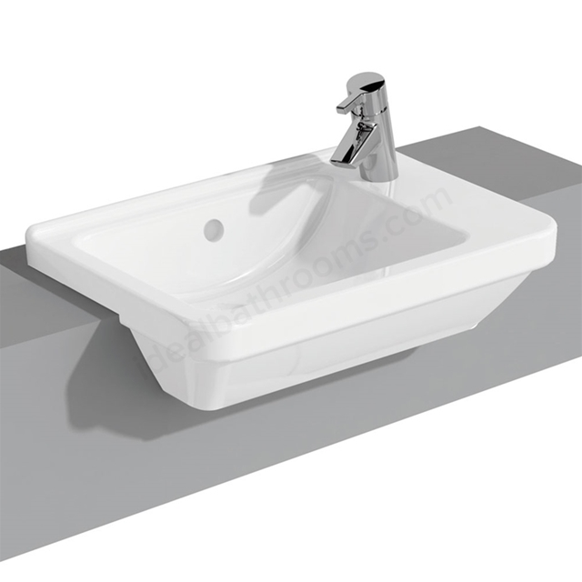 Vitra S50 Square Compact Semi Countertop Basin; 1 Tap Hole; 550mm; Right Handed; White