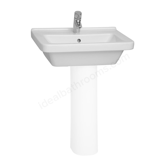 Vitra S50 Square Washbasin; 1 Tap Hole; 650mm Wide; White