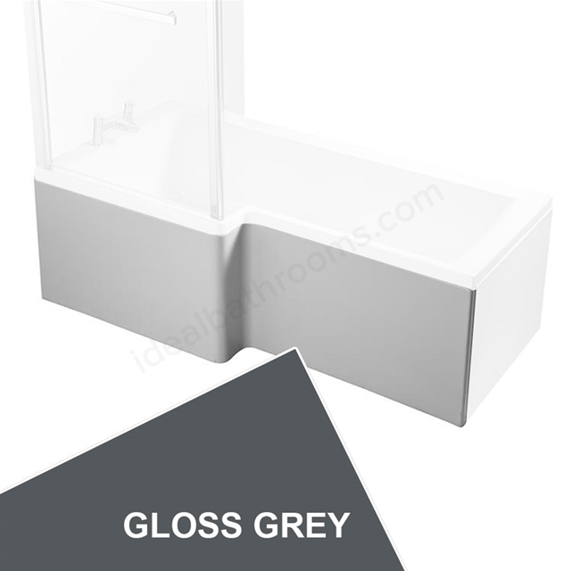Ideal Standard CONCEPT Square Shower Bath Front Bath Panel, Left Handed, 1700mm, Gloss Grey