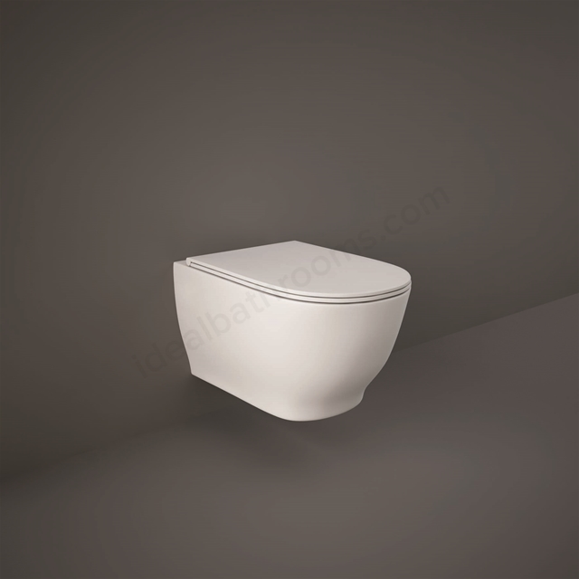 RAK Ceramics Moon Rimless Wall Hung Pan with Hidden Fixations and Soft Close Seat (Urea)