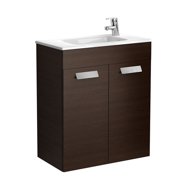 Roca DEBBA Compact Wall Hung Washbasin Unit + Basin; 2 Doors; 1 Tap Hole; 605mm Wide; Wenge