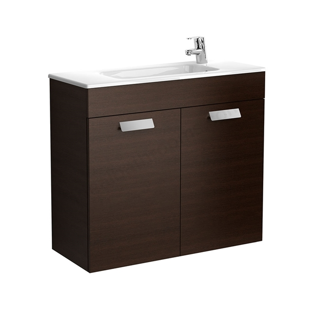 Roca DEBBA Compact Wall Hung Washbasin Unit + Basin; 2 Doors; 1 Tap Hole; 805mm Wide; Wenge