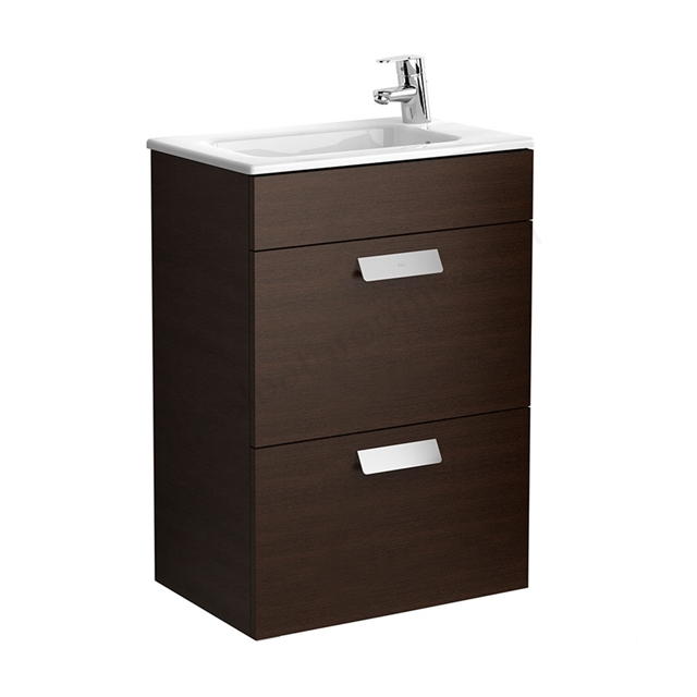 Roca DEBBA Compact Wall Hung Washbasin Unit + Basin; 2 Drawers; 1 Tap Hole; 505mm Wide; Wenge