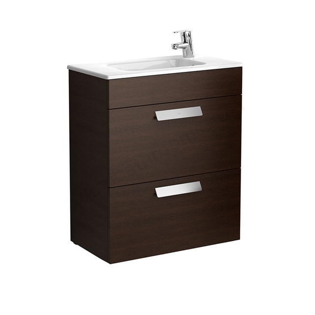 Roca DEBBA Compact Wall Hung Washbasin Unit + Basin; 2 Drawers; 1 Tap Hole; 605mm Wide; Wenge