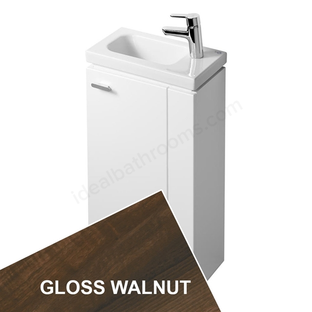 Ideal Standard CONCEPT SPACE; Floor Standing Basin Unit; 450x250mm; Right Handed 1 Door; Gloss Walnut
