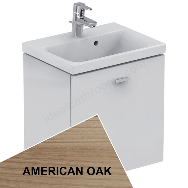 Ideal Standard Concept Space 500 X 380Mm Wall Hung Basin Unit With One Drawer - American Oak