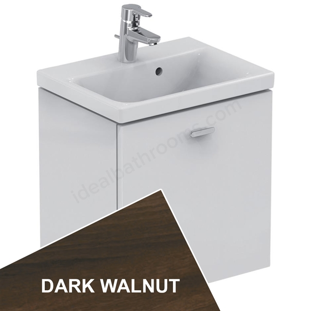Ideal Standard Concept Space 500 X 380Mm Wall Hung Basin Unit With One Drawer - Dark Walnut