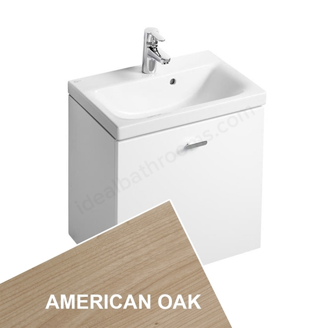 Ideal Standard CONCEPT SPACE; Wall Hung Basin Unit; 550x380mm; 1 Drawer; American Oak