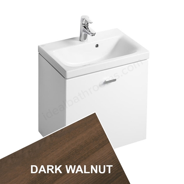 Ideal Standard CONCEPT SPACE; Wall Hung Basin Unit; 550x380mm; 1 Drawer; Dark Walnut