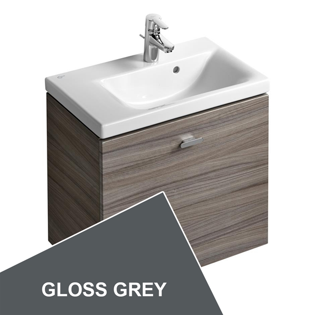 Ideal Standard Concept Space 600 X 380Mm Wall Hung Basin Unit With One Drawer - Left Hand - Grey