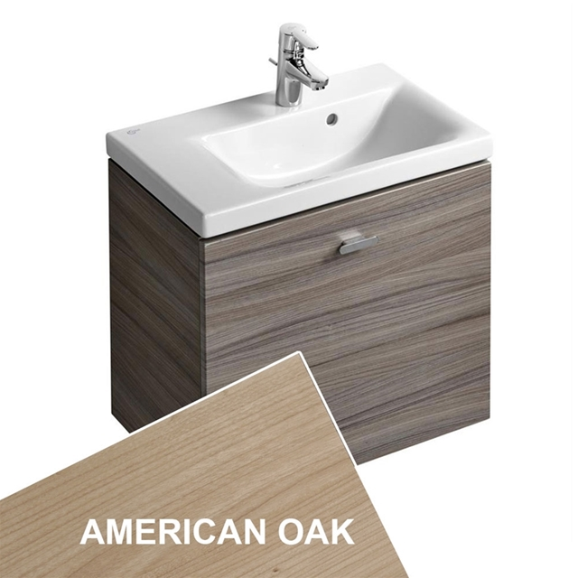 Ideal Standard CONCEPT SPACE; Wall Hung Basin Unit; 600x380mm; Left Handed; 1 Drawer; American Oak