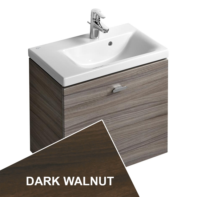 Ideal Standard Concept Space 600 X 380Mm Wall Hung Basin Unit With One Drawer - Left Hand - Dark Walnut