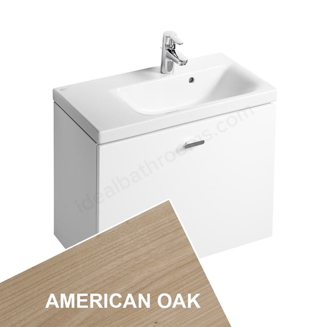 Ideal Standard CONCEPT SPACE; Wall Hung Basin Unit; 600x380mm; Right Handed; 1 Drawer; American Oak