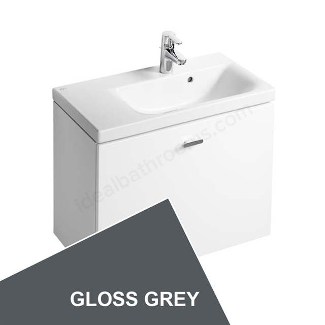 Ideal Standard CONCEPT SPACE; Wall Hung Basin Unit; 600x380mm; Right Handed; 1 Drawer; Gloss Grey