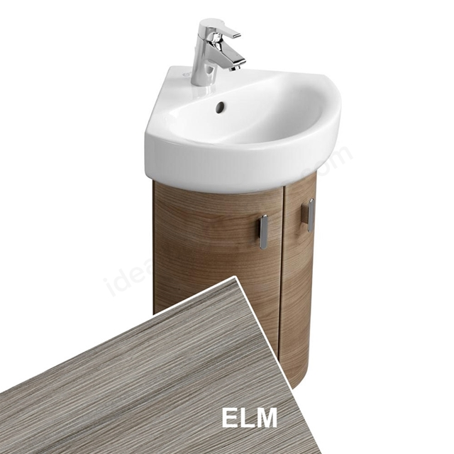 Ideal Standard CONCEPT Wall Hung Corner Basin Unit; 370x380mm; 2 Doors; Elm