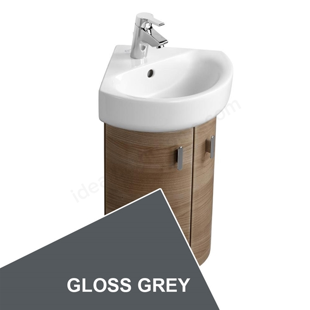 Ideal Standard CONCEPT Wall Hung Corner Basin Unit; 370x380mm; 2 Doors; Gloss Grey
