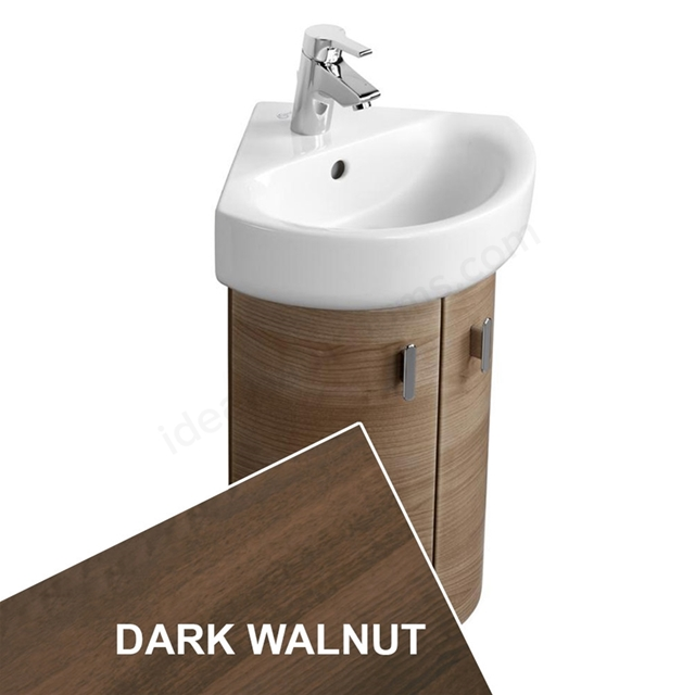 Ideal Standard CONCEPT Wall Hung Corner Basin Unit; 370x380mm; 2 Doors; Dark Walnut