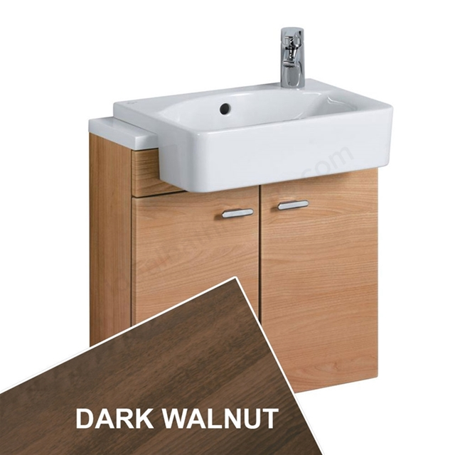Ideal Standard CONCEPT Wall Hung  Slimline Basin Unit; 500x210mm; 2 Doors; Dark Walnut