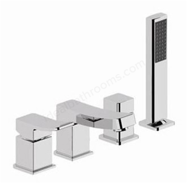 BAGNODESIGN Kudos cube  4 holedeck mounted bath mixer Chrome