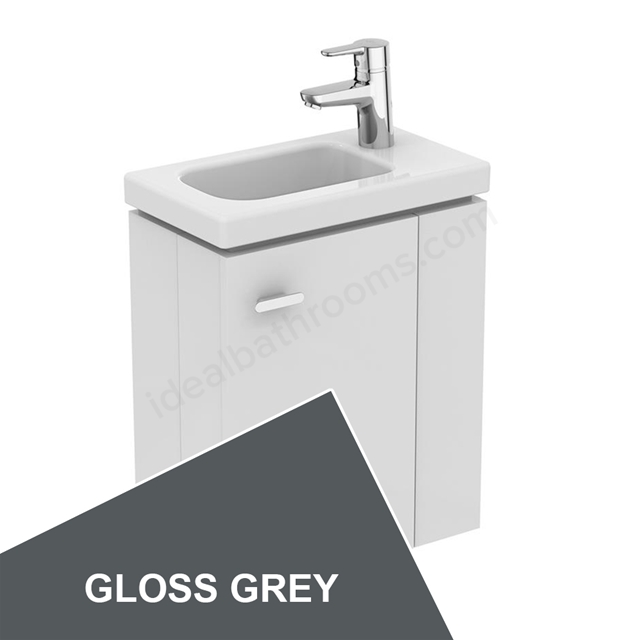 Ideal Standard Concept Space 450 X 250Mm Wall Hung Guest Basin Unit With L Shaped Door - Right Hand - Grey