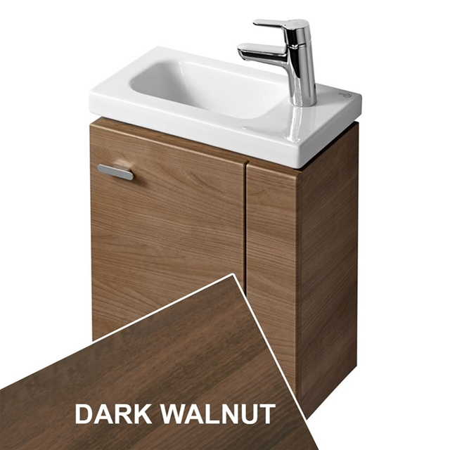 Ideal Standard CONCEPT SPACE; Wall Hung Basin Unit; 450x250mm; Right Handed 1 Door; Dark Walnut
