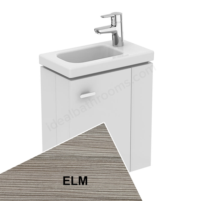 Ideal Standard Concept Space 450 X 250Mm Wall Hung Guest Basin Unit With L Shaped Door - Right Hand - Elm