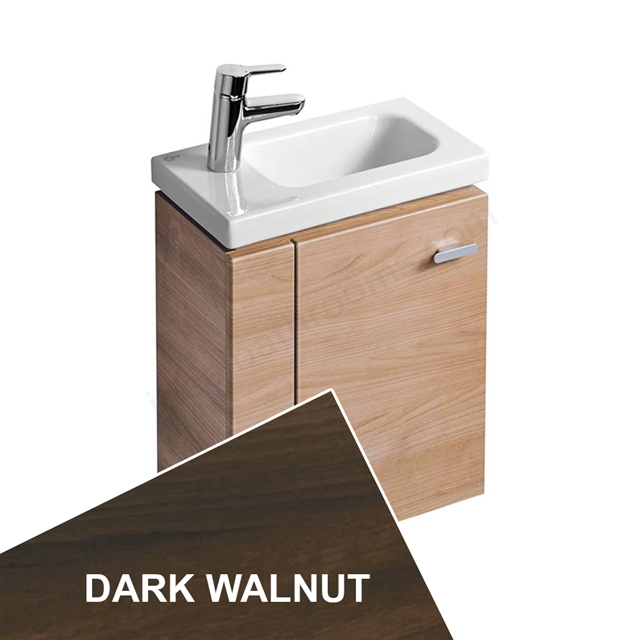 Ideal Standard Concept Space 450 X 250Mm Wall Hung Guest Basin Unit With L Shaped Door - Left Hand - Dark Walnut