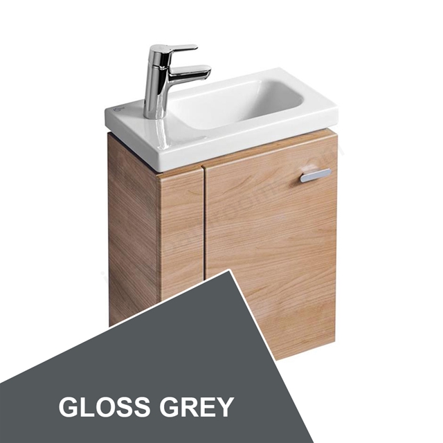 Ideal Standard Concept Space 450 X 250Mm Wall Hung Guest Basin Unit With L Shaped Door - Left Hand - Grey
