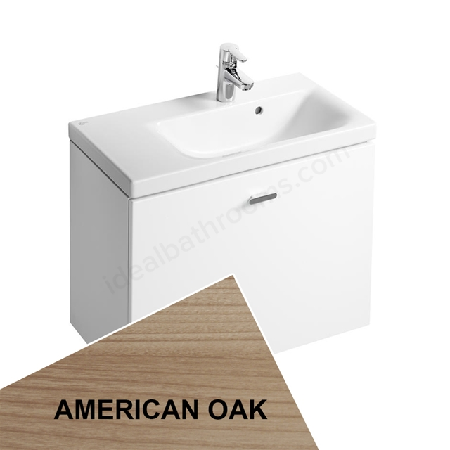 Ideal Standard Concept Space 700 X 380Mm Wall Hung Basin Unit With One Drawer And Right Hand Storage - American Oak