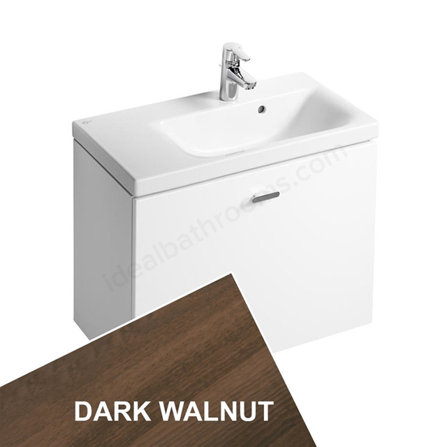 Ideal Standard CONCEPT SPACE; Wall Hung Basin Unit; 700x380mm; Right Handed; 1 Drawer; Dark Walnut
