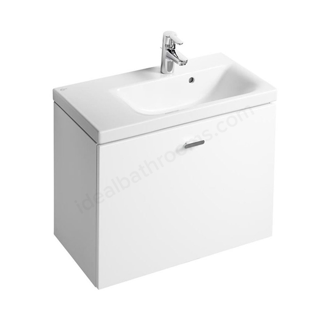 Ideal Standard CONCEPT SPACE; Wall Hung Basin Unit; 700x380mm; Right Handed; 1 Drawer. Gloss White;