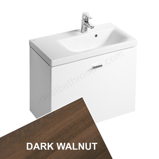Ideal Standard CONCEPT SPACE; Wall Hung Basin Unit; 700x380mm; Left Handed; 1 Drawer; Dark Walnut