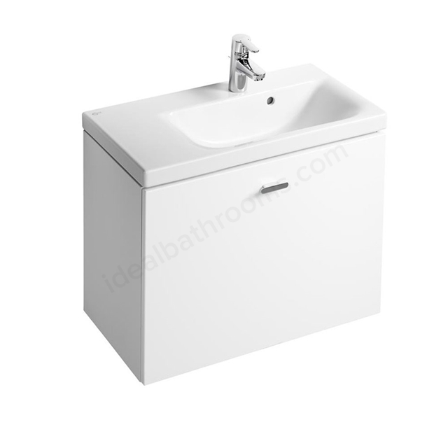 Ideal Standard CONCEPT SPACE; Wall Hung Basin Unit; 700x380mm; Left Handed; 1 Drawer; Gloss White