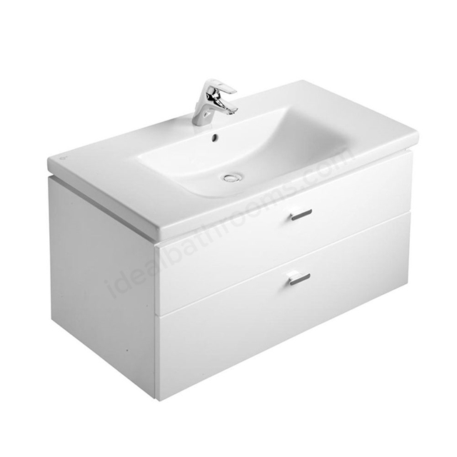 Ideal Standard CONCEPT Wall Hung Vanity Unit; 1000x450mm; 2 Drawer; Gloss White