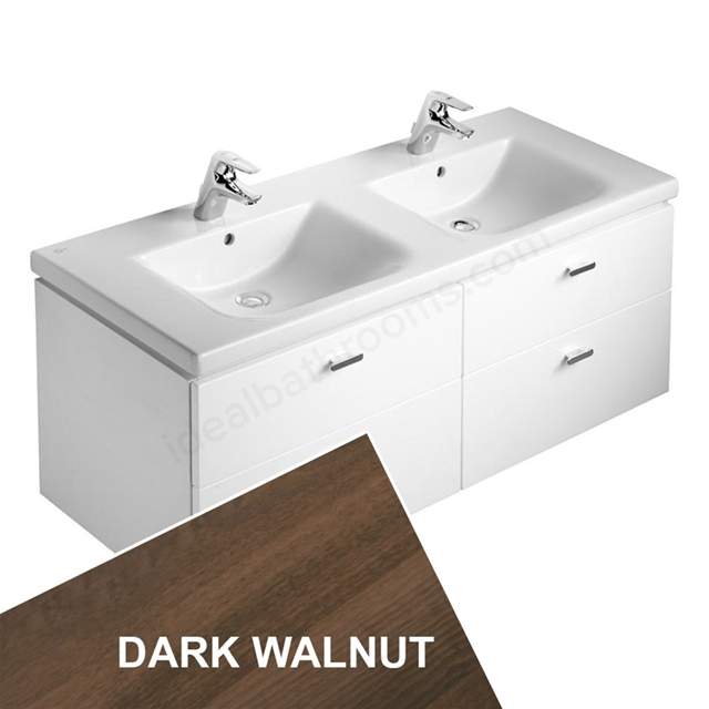 Ideal Standard CONCEPT Wall Hung Vanity Unit; 1300x450mm; 4 Drawer; Dark Walnut