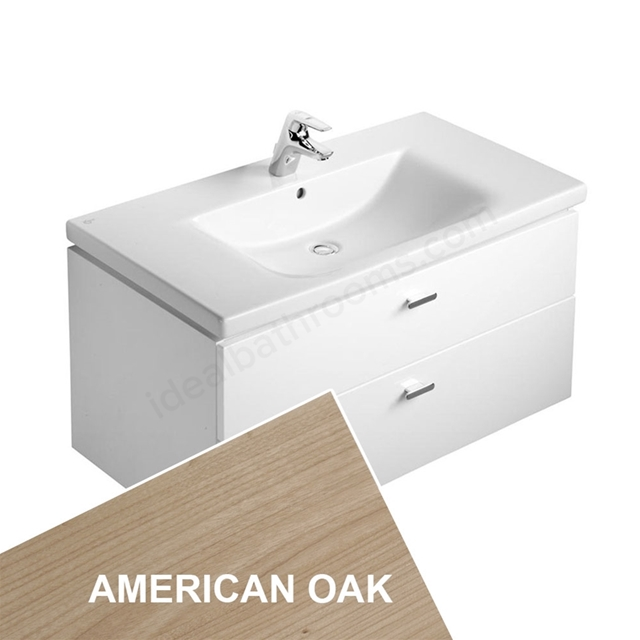 Ideal Standard CONCEPT Wall Hung Vanity Unit; 600x450mm; 2 Drawer; American Oak